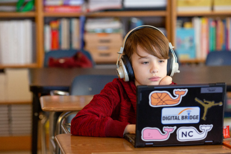 Sixth-grade boy with headphones